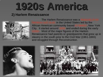 1920s America - U.S. HISTORY - visual, textual, engaging 51-slide PPT