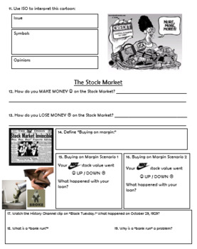 1920s Boom turns to Bust - Webquest Worksheet