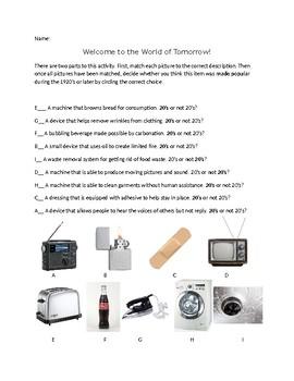 1920s Consumer Items worksheet