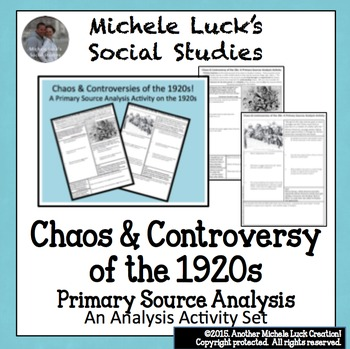1920s Controversies Primary Source Analysis Handout Homework US U.S. History
