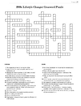 1920s crossword puzzle review cultural lifestyle changes crossword puzzle. Black Bedroom Furniture Sets. Home Design Ideas