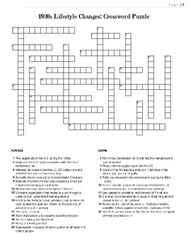 1920s Crossword Puzzle Review: Cultural & Lifestyle Changes Crossword Puzzle