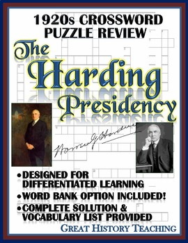 1920s Crossword Puzzle Review: Harding Administration Cros