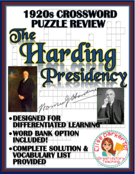 1920s Crossword Puzzle Review: Harding Administration Crossword Puzzle