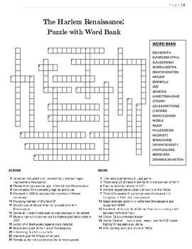 1920s Crossword Puzzle Review: Harlem Renaissance Crossword Puzzle