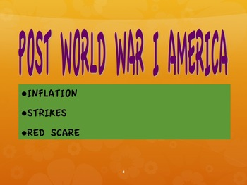 1920s--Inflation, Strikes, Red Scare