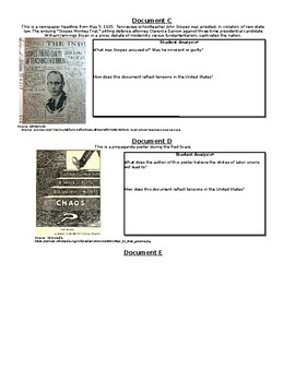 1920s Jazz Age Document-Based Questions and Open-Ended Response Question