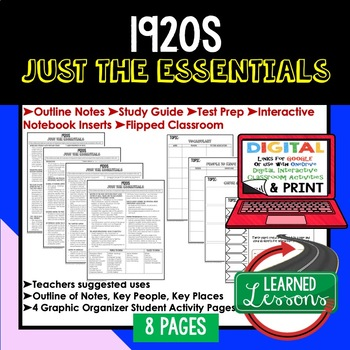 1920s Outline Notes JUST THE ESSENTIALS Unit Review