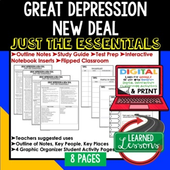 Great Depression & New Deal Outline Notes JUST THE ESSENTIALS Unit Review