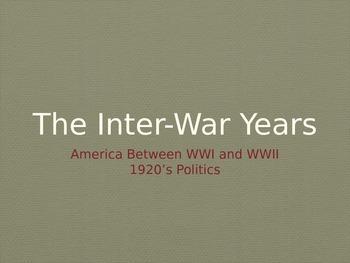 1920's Politics Interwar Years United States