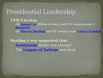 1920s Presidential Leadership PowerPoint Lecture