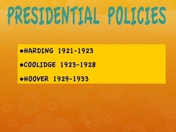 1920s--Presidential Policies