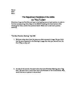 1920s Republican Presidents WebQuest