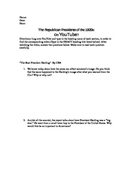 1920s Republican Presidents WebQuest