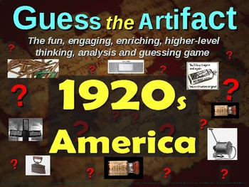 "1920s (Roaring '20s) America ""Guess the artifact"" - engaging (pics & clues)"