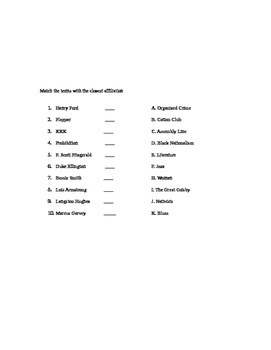 1920s (Roaring 20s) Jazz Age Multiple Choice Test