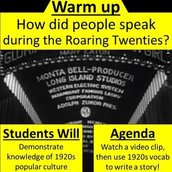 1920s Slang Story Writing Activity