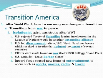 1920s Transition America PowerPoint Lecture