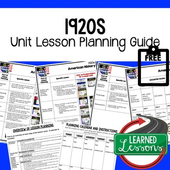 1920s Lesson Plan Guide, American History BACK TO SCHOOL