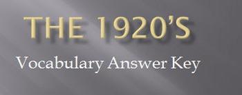 1920's Unit Vocabulary Handout & Answer Key Presentation