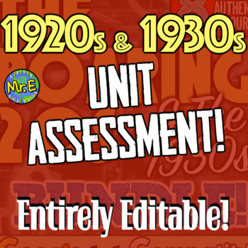 1920s and 1930s Assessment: Two-Part Test for Events of Roaring 20s and 1930s!