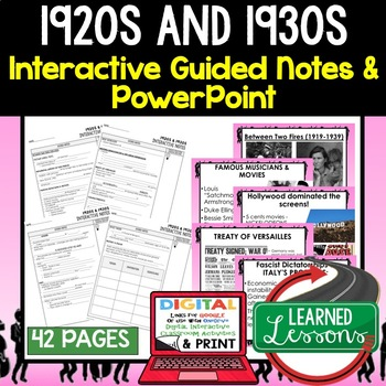 1920s and 1930s Guided Notes & PowerPoints, Digital Distance Learning & Print