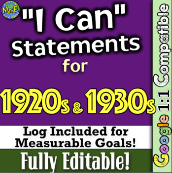 "1920s and 1930s ""I Can"" Statements & Log: Measure Learning on the Roaring 20s!"