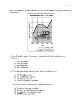 1920s and 1930s Test - Multiple Choice NYS Regents Style Questions (Changeable)