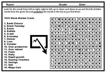 1929 Stock Market Crash Word Search Worksheet, Elementary Vocabulary Sub Plan
