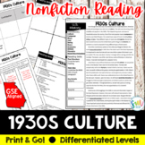 1930's Culture Reading & Writing Activity (SS5H3, SS5H3c)