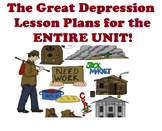 1930's The Great Depression FULL LESSON PLANS FOR ENTIRE UNIT + UNIT TEST!