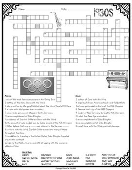 1930s Crossword