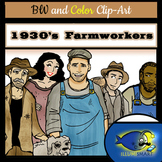 1930's Farmworker Clip-Art: 18 pieces BW and Color!
