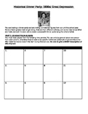 1930s/ Great Depression Historical Dinner Party: GREAT ASSIGNMENT