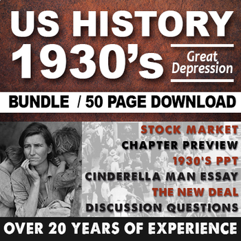 1930's Great Depression Cinderella Man FDR Stock Market Crash Bundle