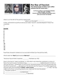 1930s Rise of Fascism Worksheet with Answer Key (Hitler, Mussolini)