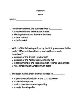 1930's U.S. History test