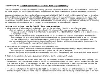 1930s World War I to World War II Writing/Graphic Summary Activity