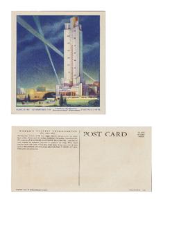 1933 World's Fair Post Card - The Havoline Motor Oil Building .