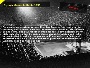 1936 Nazi Olympics - 22 slides of background, images, video links and details