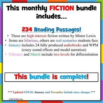 214 fiction MONTHLY Reading Comprehension Passages and Questions BUNDLE