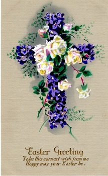 1940s Postcard - Very traditional Easter Greeting -  Unused and Classic