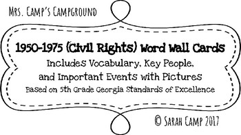 1950-1975 (Civil Rights Movement) Word Wall/Bulletin Board Cards