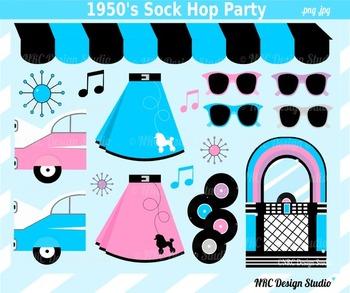 1950 Sock Hop Party Clip Art