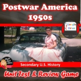 1950's America Unit TEST (Editable) and BINGO Review Game (U.S. History)