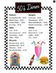 1950's Diner Menus