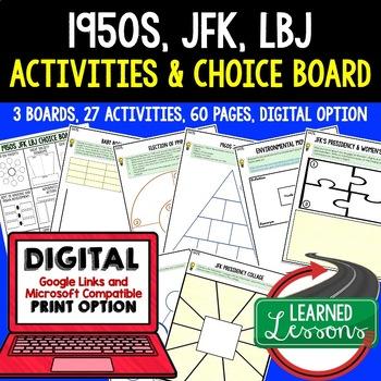 1950's JFK New Frontier & LBJ Great Society Activities Choice Boards US History