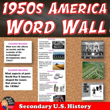 1950's Post WWII American Society Vocabulary WORD WALL Pos