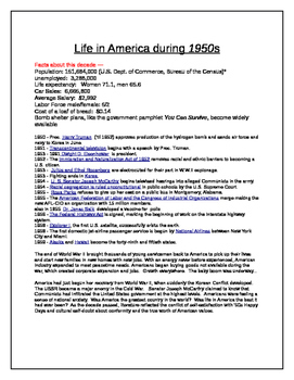 Economics/ U.S. History -What life was like in the 1950's?