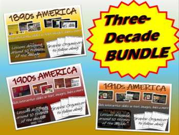 US HISTORY: ALL 12 Themes-Of-The-Decade units (1890-2010): 581 PPT slides in all